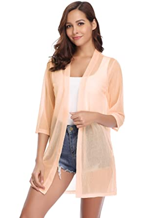 14e36d757fb64a iClosam Women Cardigan Casual Summer Lightweight 3/4 Sleeve Waterfall Open  Front Cardigans (Beige