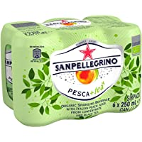 Sanpellegrino Pesca+tea Organic Sparkling Peach Tea Cans, 250ml (Pack of 6)