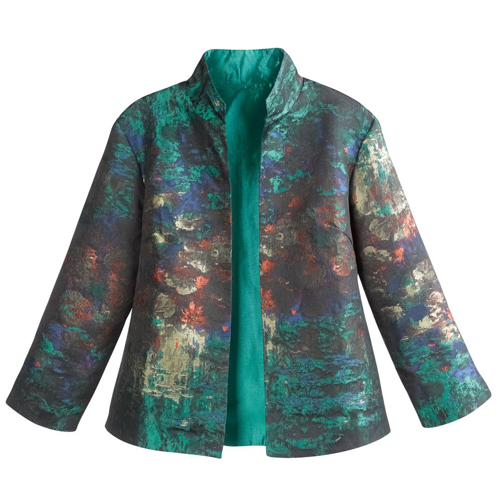 Women's Monet impressionist Print Jacket - Open Front High Collar - Large