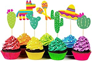 56 Pieces Mexican Fiesta Cupcake Toppers, Cake Picks for Mexican Themed Cactus Donkey Taco Pepper Sombrero Mustache Party Decorations,Baby Shower or Birthday Party Decor