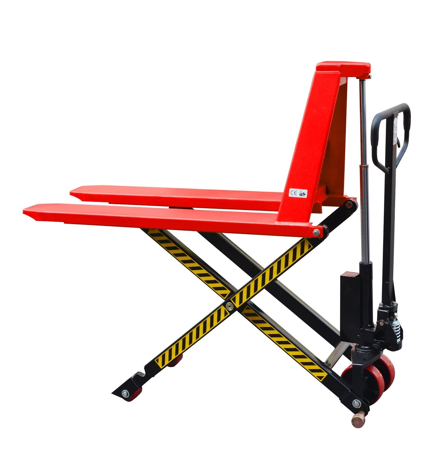 Giant Move MD-H15L Steel Manual High Lift Scissor Truck, 3300 lbs Capacity, 45'' Length x 27'' Width Fork, Red