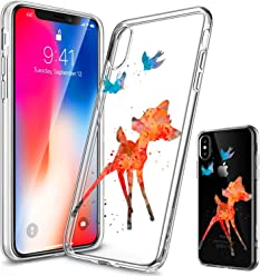 Girlscases® | iPhone XS Hülle, iPhone X / 10 Hülle | Im REH/Rehkitz Motiv Muster | in bunt | Fashion Case Transparente Schutzhülle aus Silikon