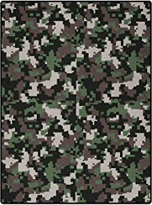 Camo Children Play Dormitory Home Decor Rug for Bedroom Kids Rooms Living Room Playroom Pixelated Pattern Digital Effect Modern Conceptual Camouflage Texture Army Green Beige Brown 4 x 5 Ft