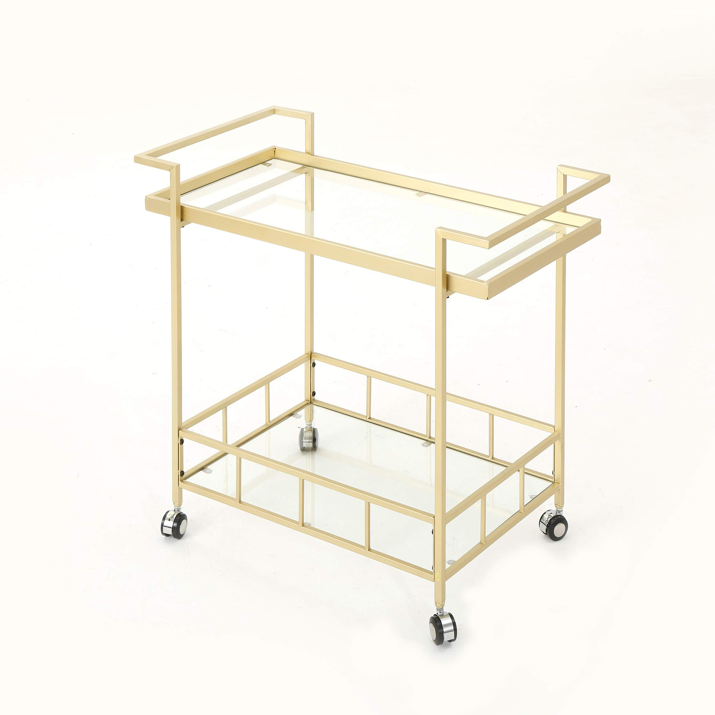 Christopher Knight Home Amaya Indoor Industrial Iron and Glass Bar Cart, Gold, by Christopher Knight Home