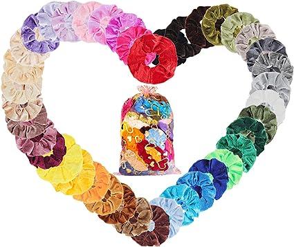 Velvet Elástico Hair Scrunchies 50 Colores Xpassion Scrunchie de Pelo Banda de Pelo de Flor de Gasa Coletero Elástico Lazos Terciopelo Accesorios Para El Cabello Ponytail Titular para Mujeres y Chicas: Amazon.es: