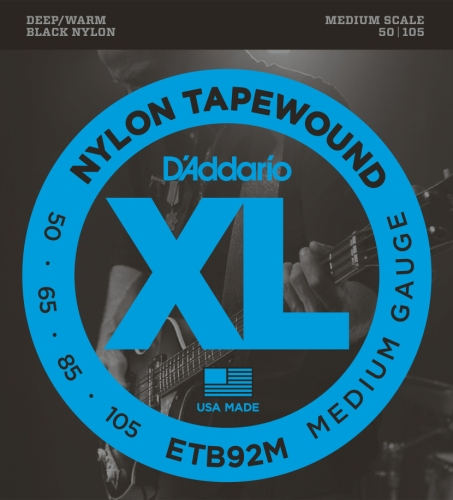 D'Addario ETB92M Tapewound Bass Guitar Strings, Medium, 50-105, Medium Scale from D'Addario