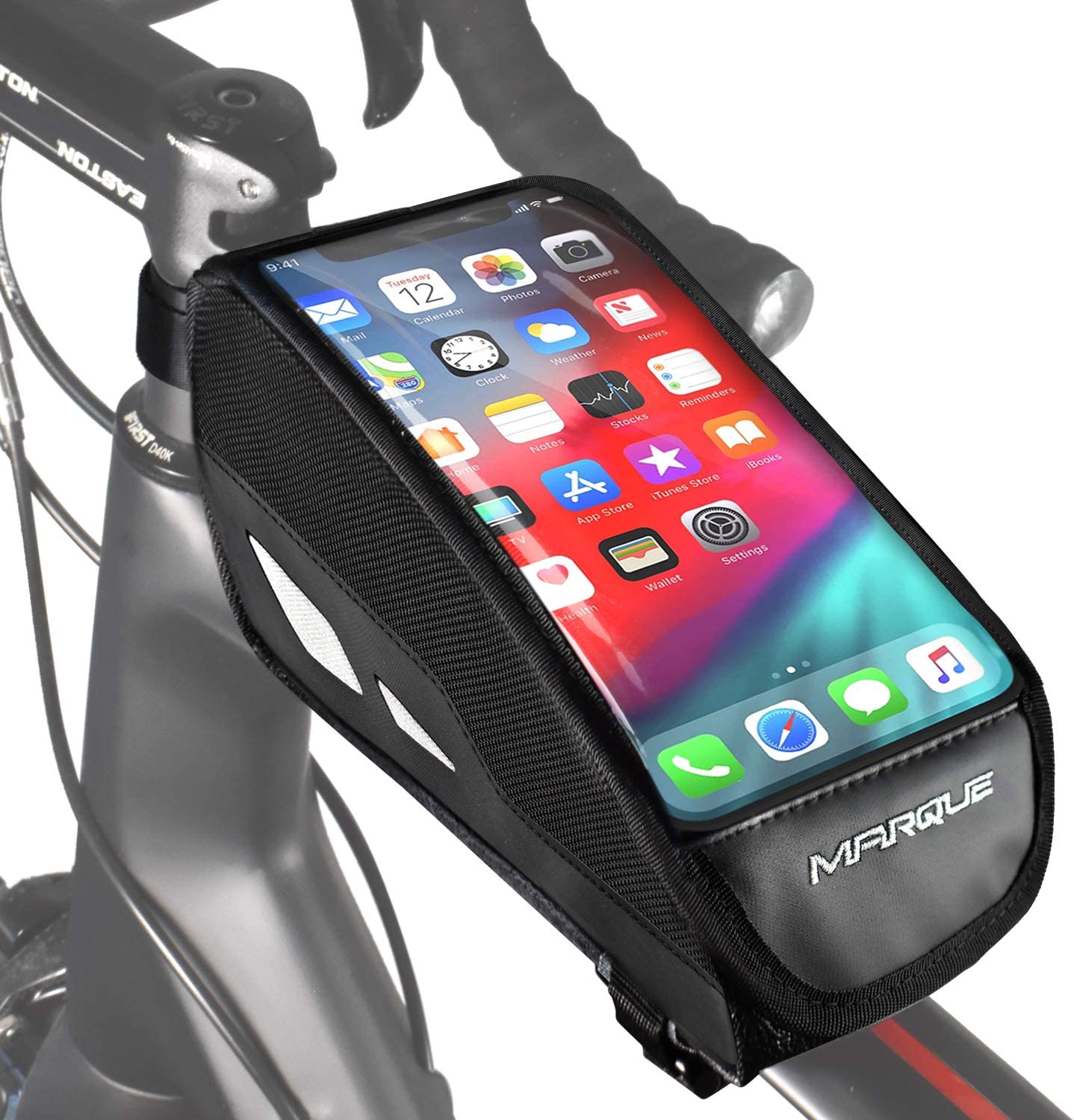 MARQUE Bike Front Phone Bag – Water Resistant Top Tube Bicycle Frame Bag with Phone Mount Case Holder and Touch Screen Compatible with iPhone X, 11 and Other Smart Cell Phone