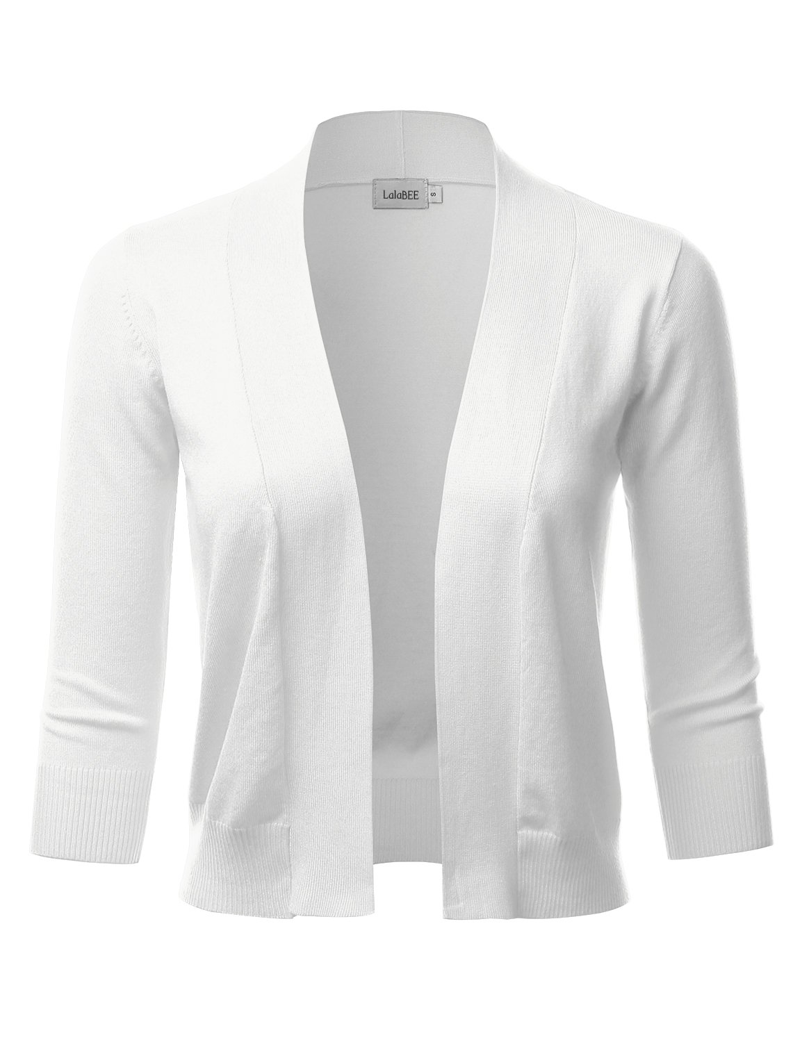 LALABEE Women's Classic 3/4 Sleeve Open Front Cropped Bolero Cardigan-White-L