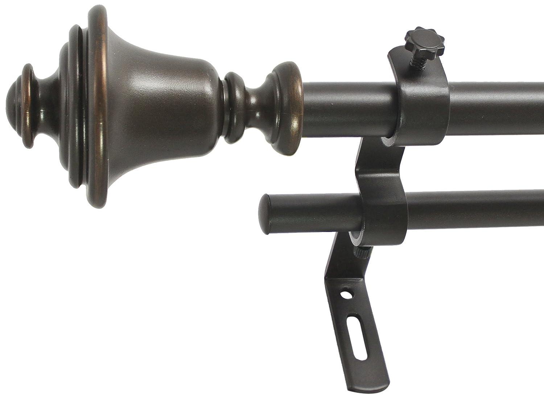 26 to 48-Inch Vintage Bronze Montevilla 5//8-Inch Bell Double Window Treatment Rod Set