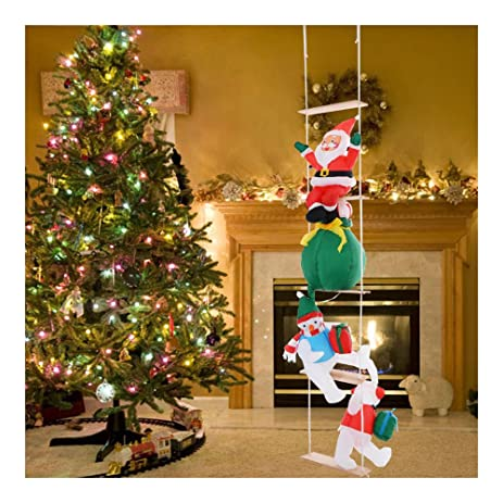 8 ft airblown inflatable christmas xmas santa ladder decor lighted lawn present - Christmas Ladder Decor