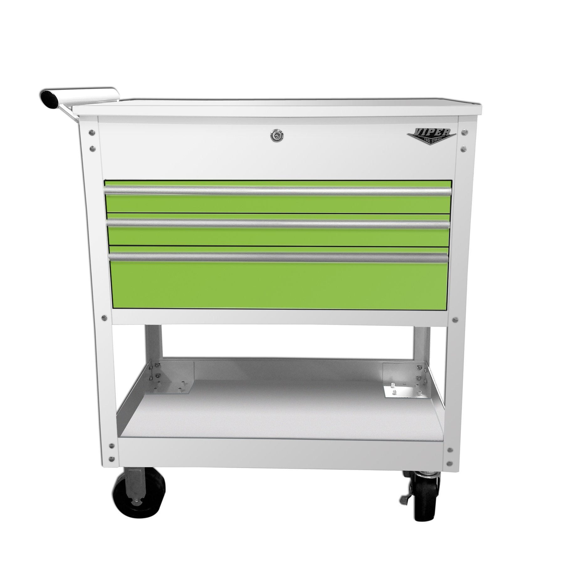 Viper Tool Storage V33UCWLGR 3-Drawer Industrial Utility / Mechanics Cart, 34'', White/Lime Green