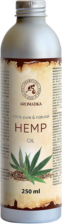 Aceite de Semillas de Cáñamo 250ml - 100% Puro y Natural - Aceite Base - Cannabis Sativa Seed Oil - Hemp Oil - Cuidado Intensivo para Rostro - Cuerpo - Cabello - Piel - para Masajes de Belleza