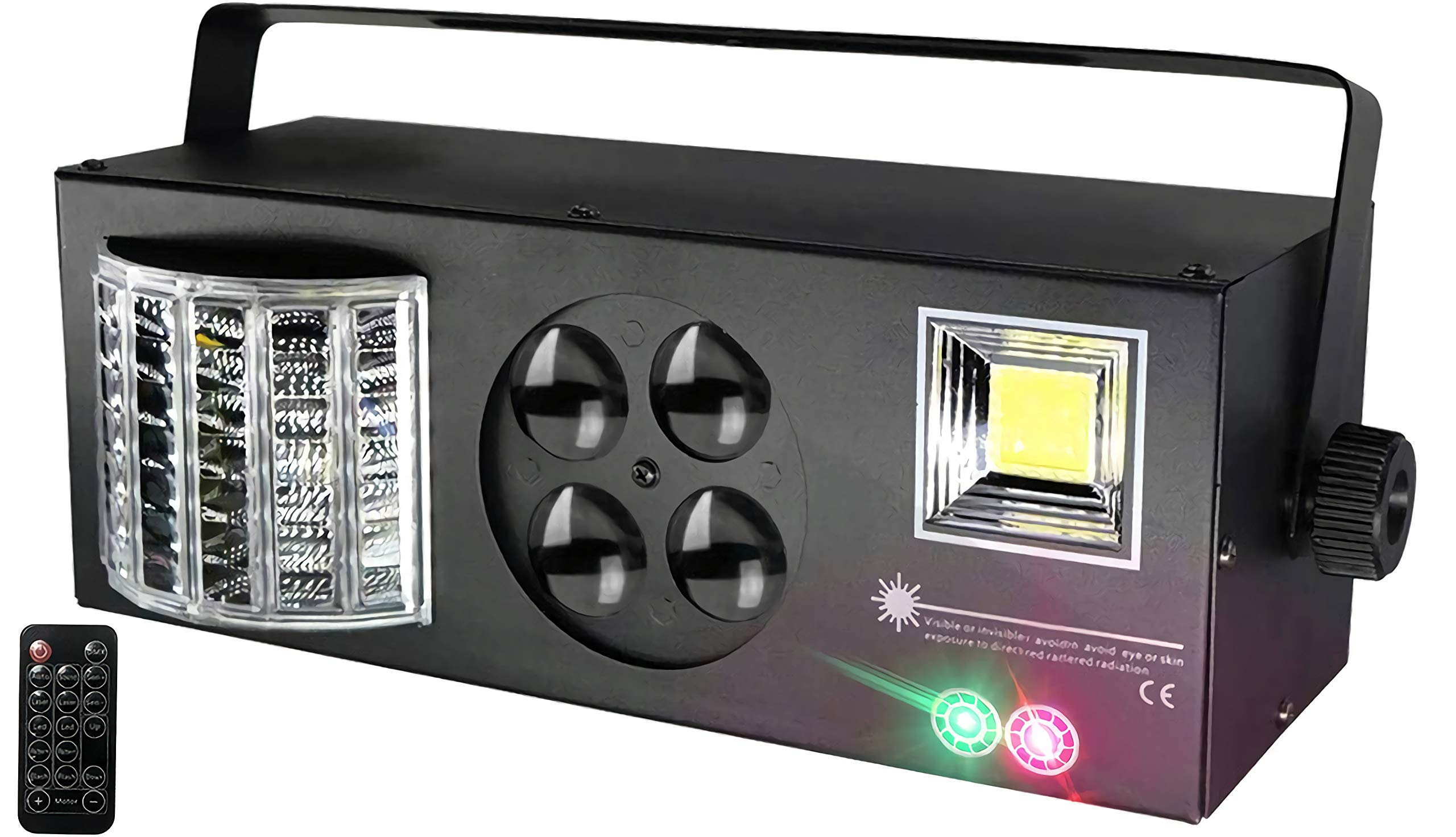 [2019 UPGRADED]4 in 1 Mixed Sound Effect Strobe RGBW LED Stage Lights with Remote and DMX Control for DJ Club Disco Party KTV Xmas(Black) by TRAELY
