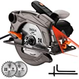 "TACKLIFE Classic Circular Saw with Laser, 2 Blades(7-1/2""&7-1/4""), 4500 RPM Corded Saw with Lightweight Aluminum Guard, 10 feet Cord Length, Max Cutting Depth 2-1/2''(90°), 1-4/5''(45°) - PES01A"