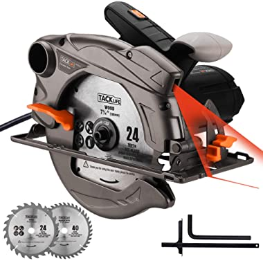 TACKLIFE Classic 1500W Circular Saw with Laser, 2 Blades(7-1/2 &7-1/4 ), 4700 RPM Corded Saw with Lightweight Aluminum Guard, 10 feet Cord Length, Max Cutting Depth 2-1/2''(90°), 1-4/5''(45°) - PES01A