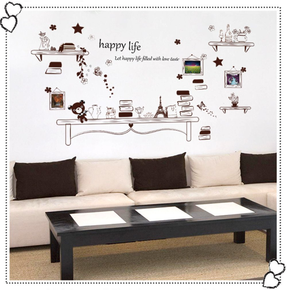 Home Decor Wall Stickers Photos Frame with Cute Bear and Boos Removable Room Decor Vinyl Wall Decals Quotes Happy Life