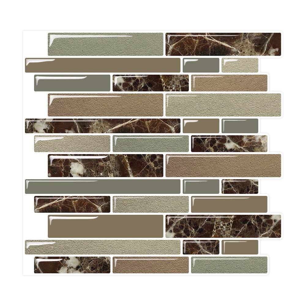 Yipscazo Peel and Stick Tile for Kitchen Backsplash, Anti-Mold Wall Tiles in Emperador Dark (10 Tiles)