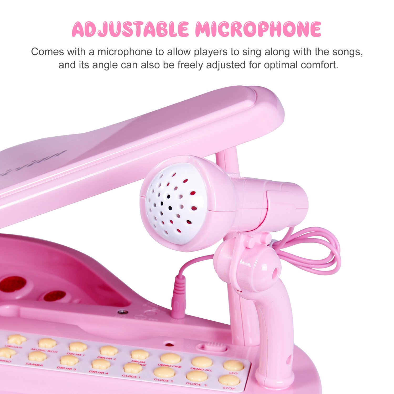 Audio Link with Mobile IPad PC Electronic Musical Multifunctional Instruments Pink iFixer 31 Keys Piano Keyboard Toy for Girl Toddlers Kids Musical Talent Development with Microphone