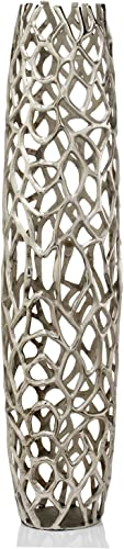 Modern Day Accents Silver Rama XL Barrel, Statement Piece, Aluminum, Modern, Rough, Twig, Texture, Floor Standing, Tall, Vase, 9 x 9 x 40 , X-Large