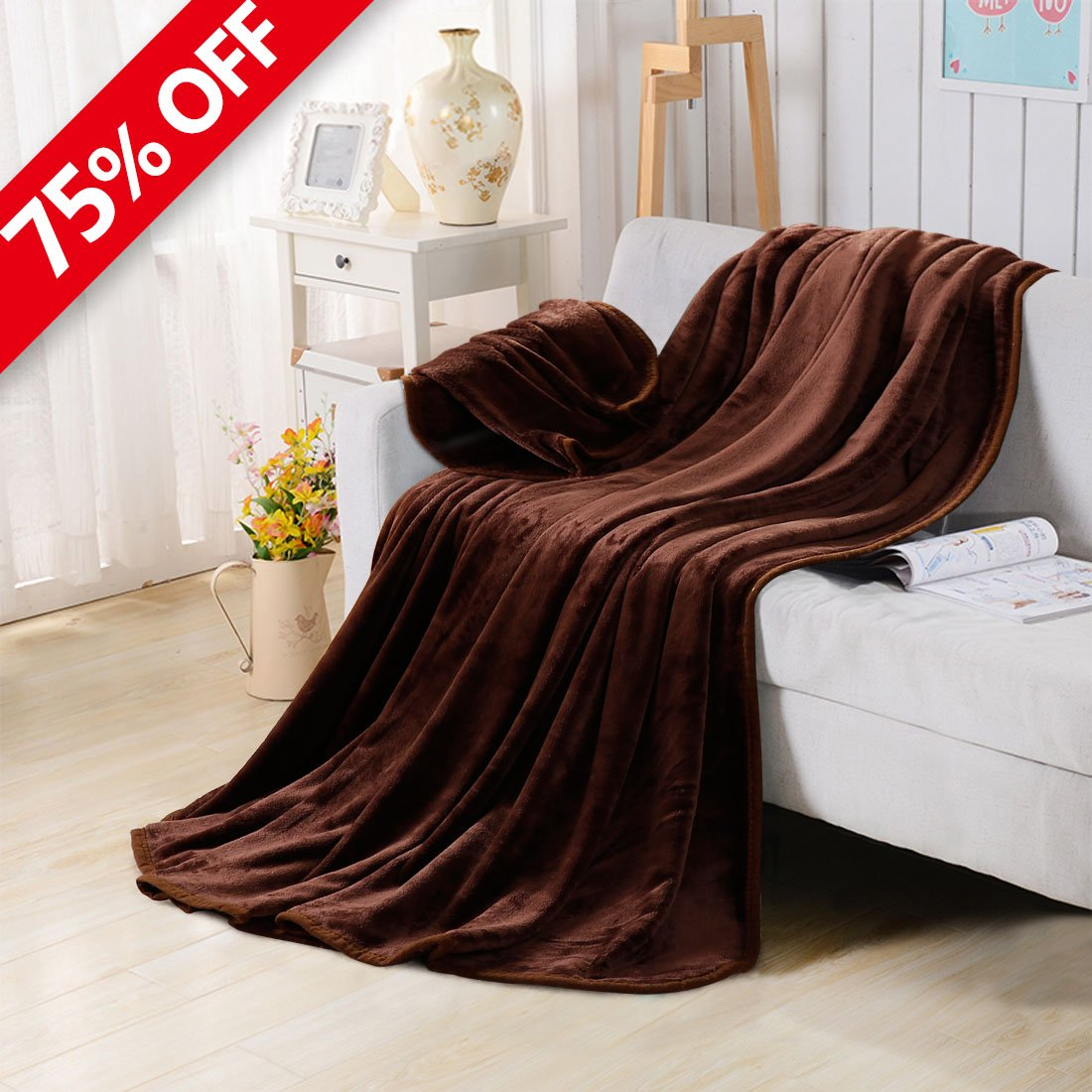 Fleece Blankets for The Bed Extra Soft Brush Fabric Super Warm Sofa Blanket (King-90X108inch,Chocolate)