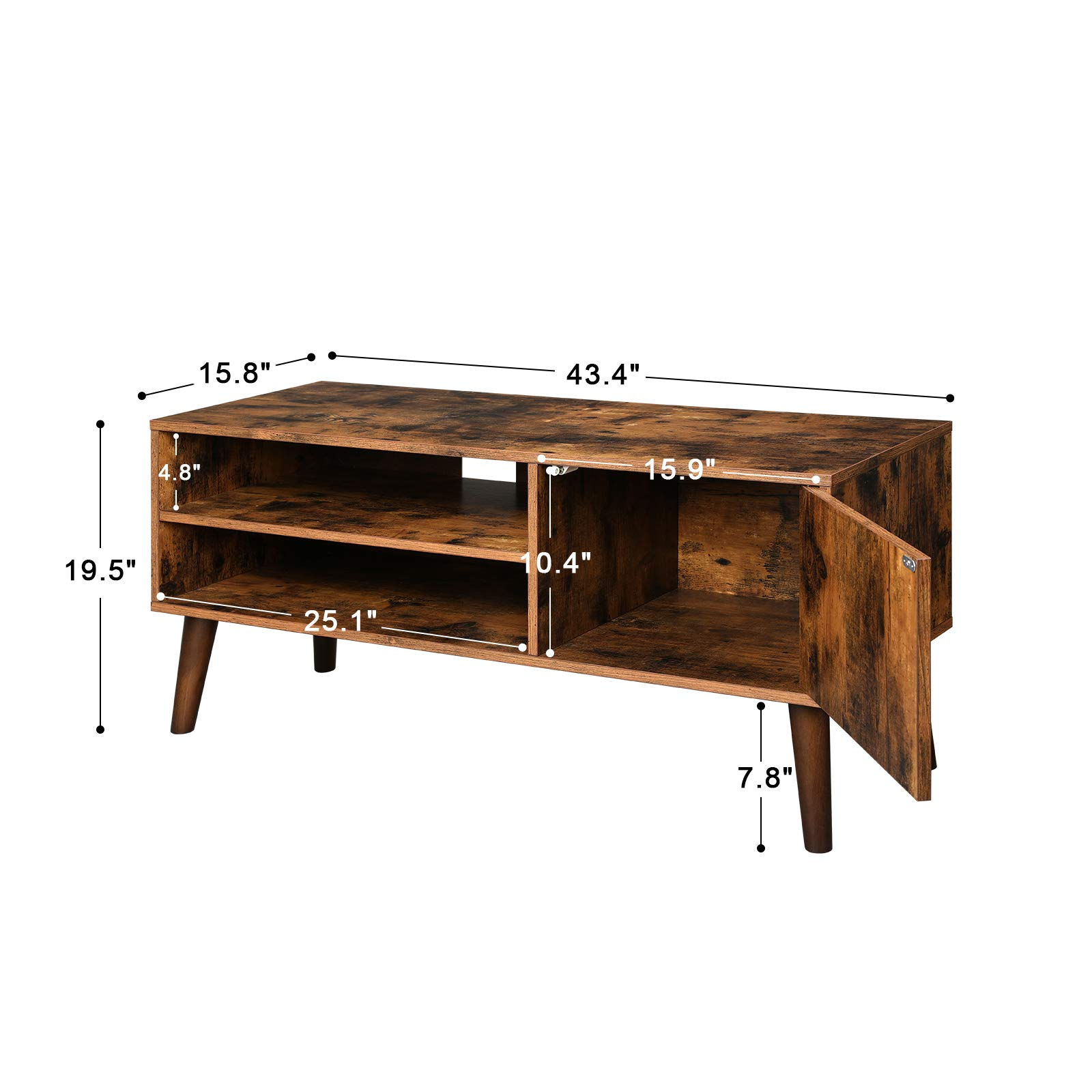 VASAGLE Retro TV Stand, TV Console, Mid-Century Modern Entertainment Center for Flat Screen TV Cable Box Gaming Consoles, in Living Room Entertainment Room Office ULTV09BX by VASAGLE (Image #7)