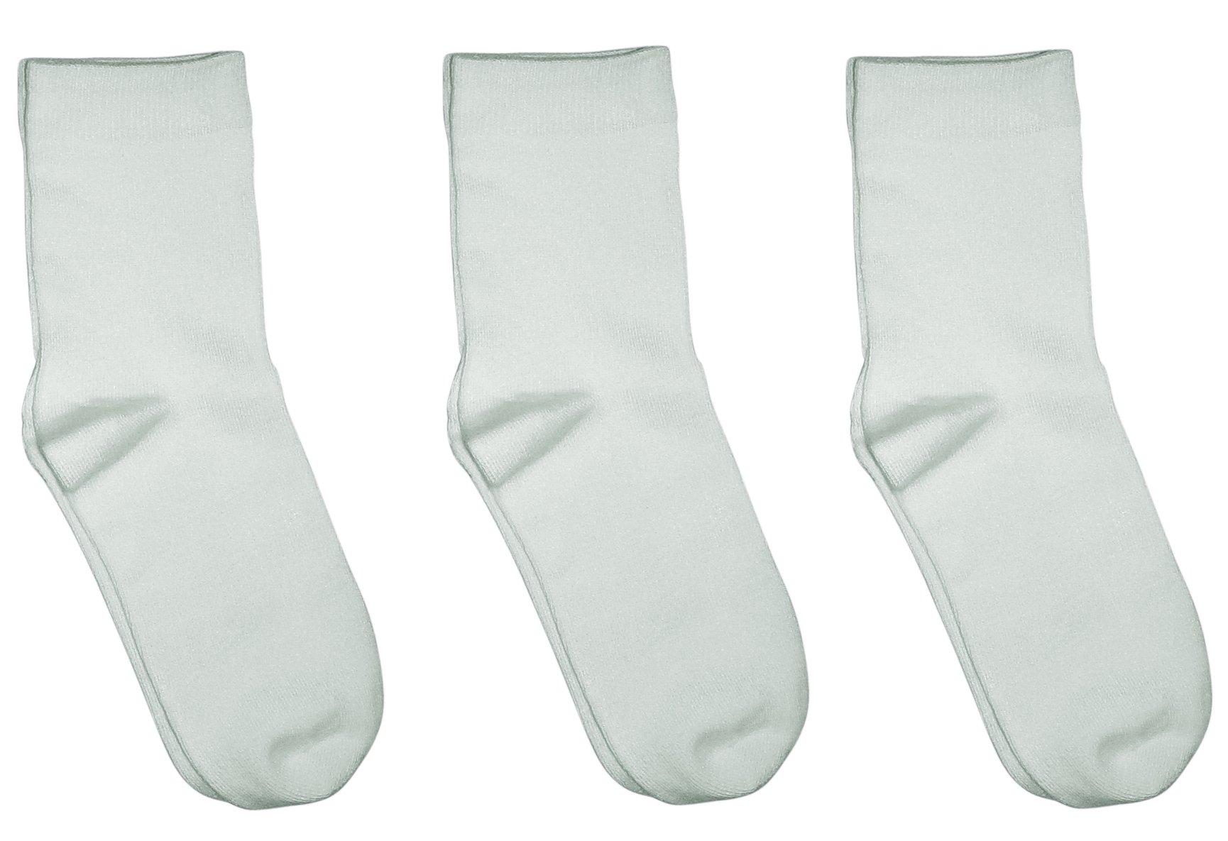Rambutan Kids Comfort Seam Plain Colour Bamboo School Socks (3 Pack) (7-9.5, White)