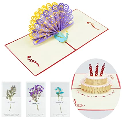 CUXUS Happy Birthday Cards Thank You 3D Pop Up Set For