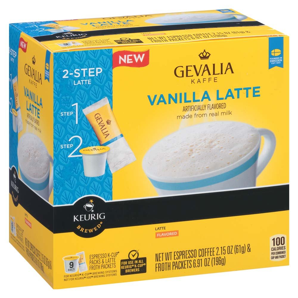 Gevalia Vanilla Latte Espresso Coffee with Froth Packets, K-Cup Pods, 9 Count