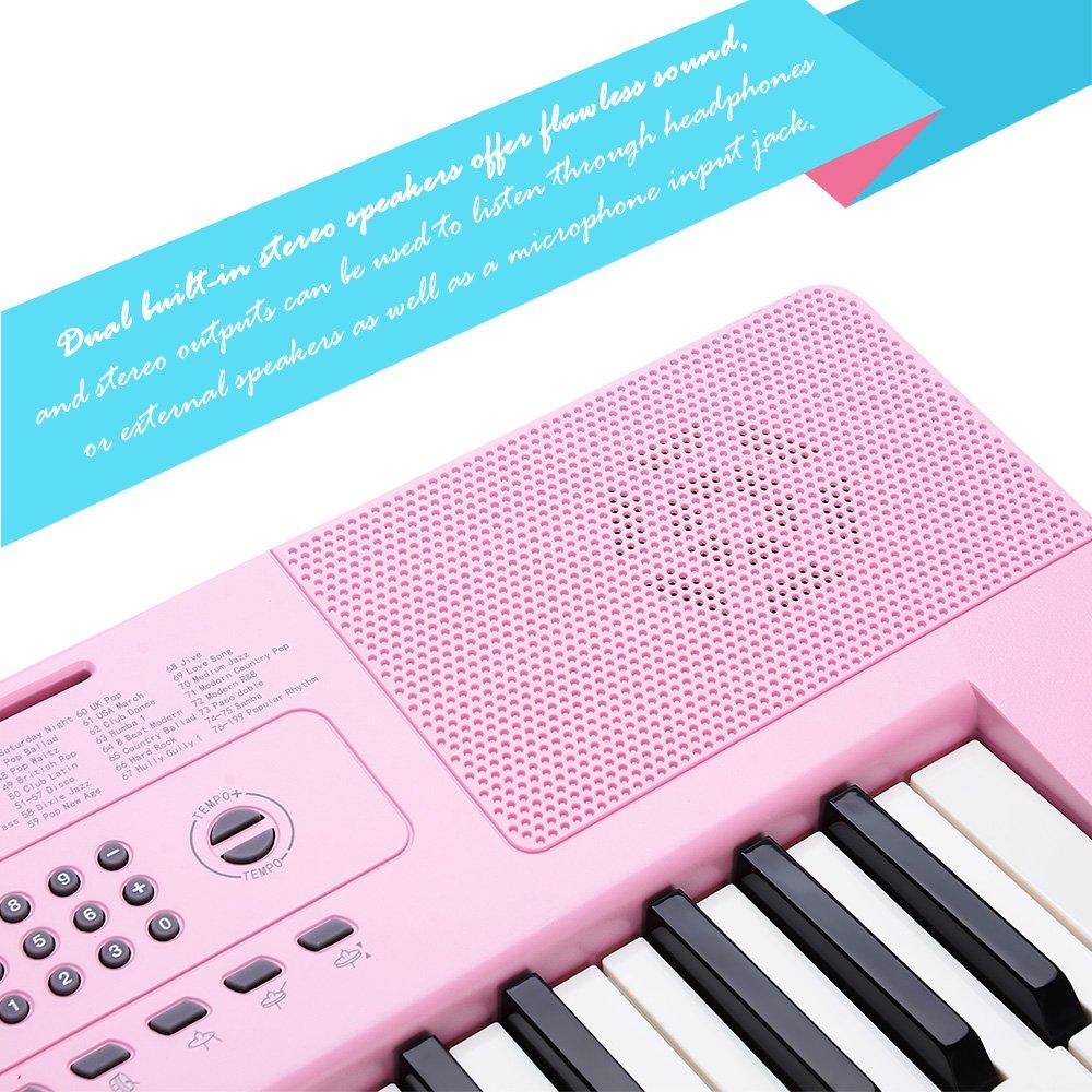 Teclado Piano Electrónico Portátil 49 Teclas on Altavoces Integrados, Pantalla LCD con Micrófono y Adaptador de Corriente, Color Rosa, ...