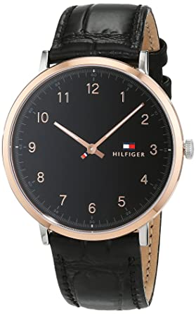 Tommy Hilfiger Mens Sophisticated Sport Silver and Gold Quartz Watch with Leather Calfskin Strap, Black