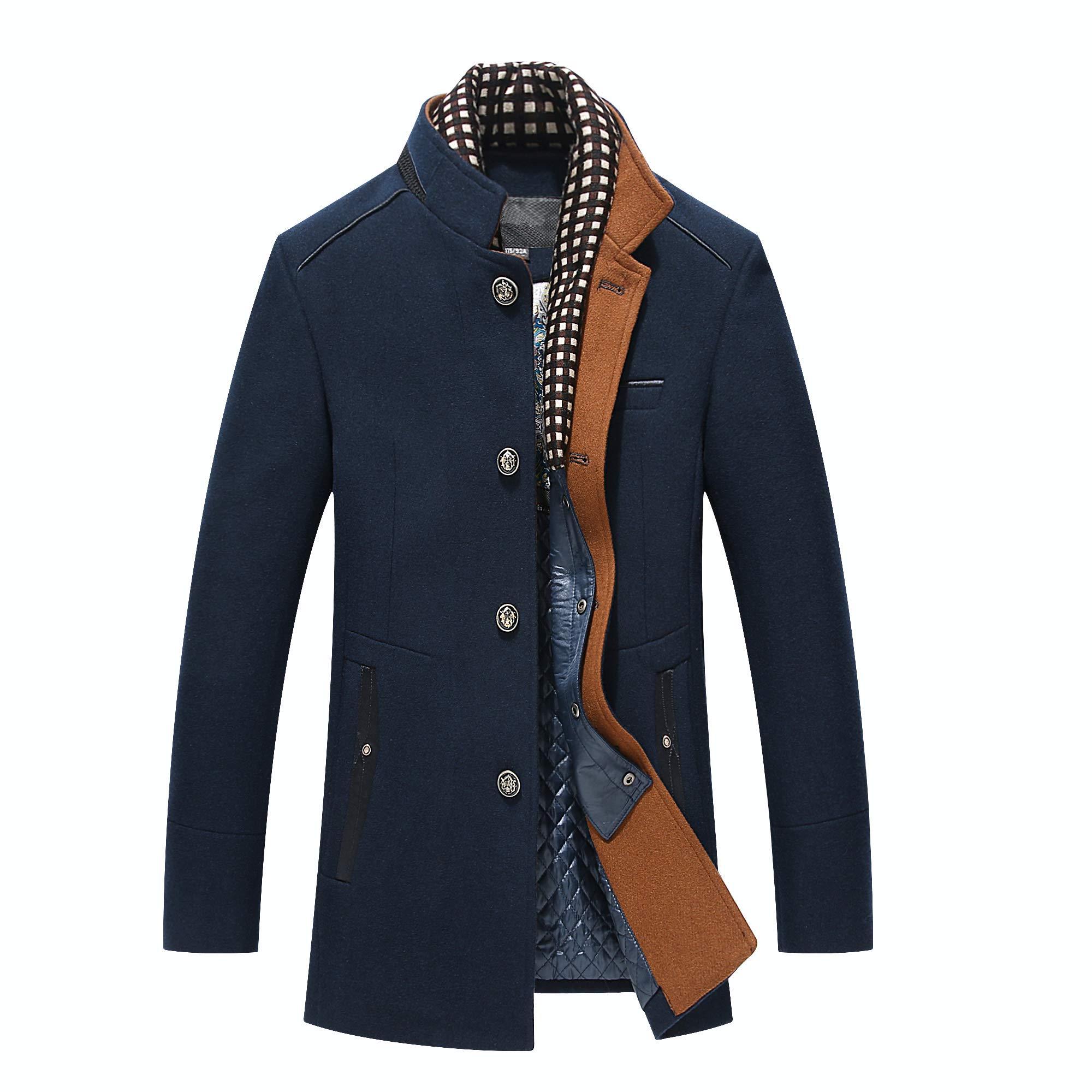 PRIJOUHE Men's Wool Coat Winter Coat Slim Medium Long Coats Overcoat Male by PRIJOUHE