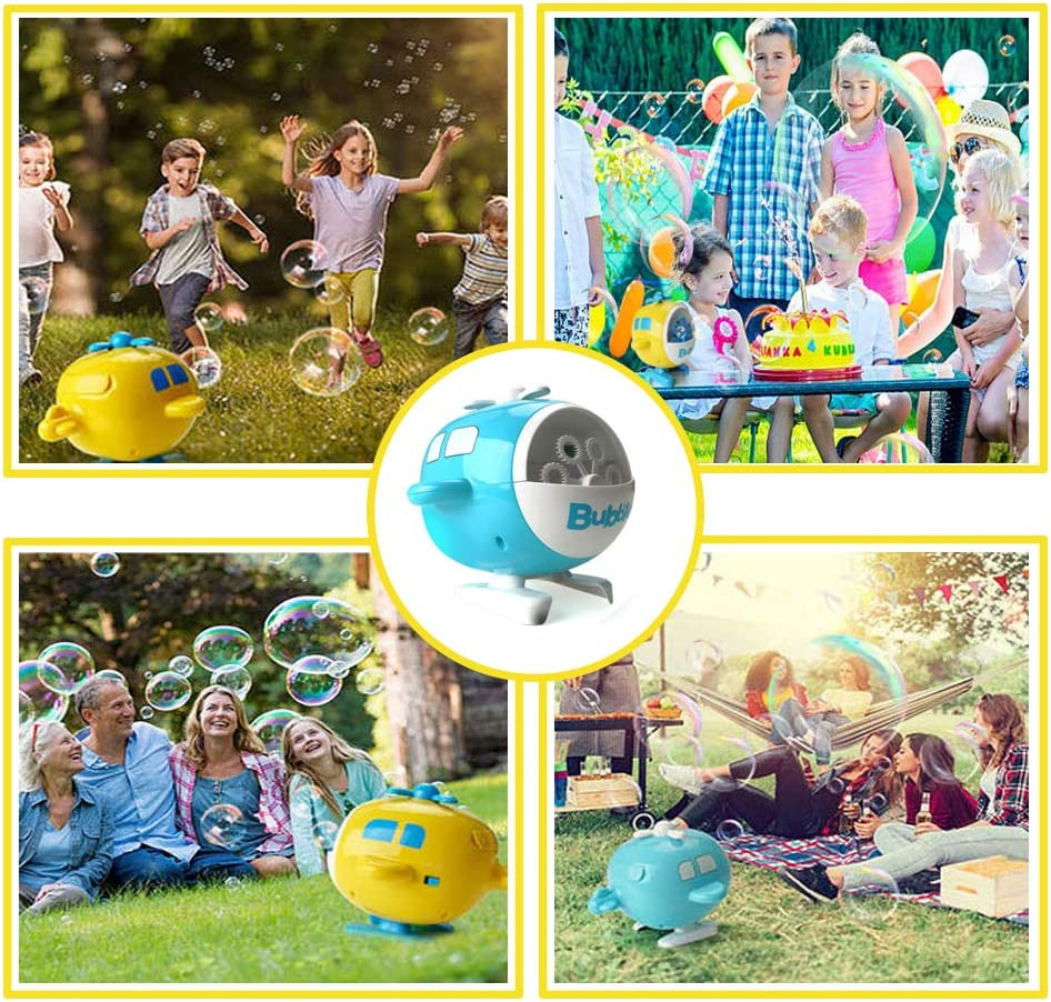 FillADream Automatic Rechargeable Bubble Machine Portable Cute Bubbles Blower for Kids Party Indoor Outdoor Use V07, Yellow
