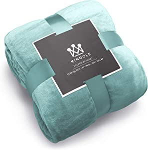 Kingole Flannel Fleece Microfiber Throw Blanket, Luxury Celadon King Size Lightweight Cozy Couch Bed Super Soft and Warm Plush Solid Color 350GSM (108 x 90 inches)