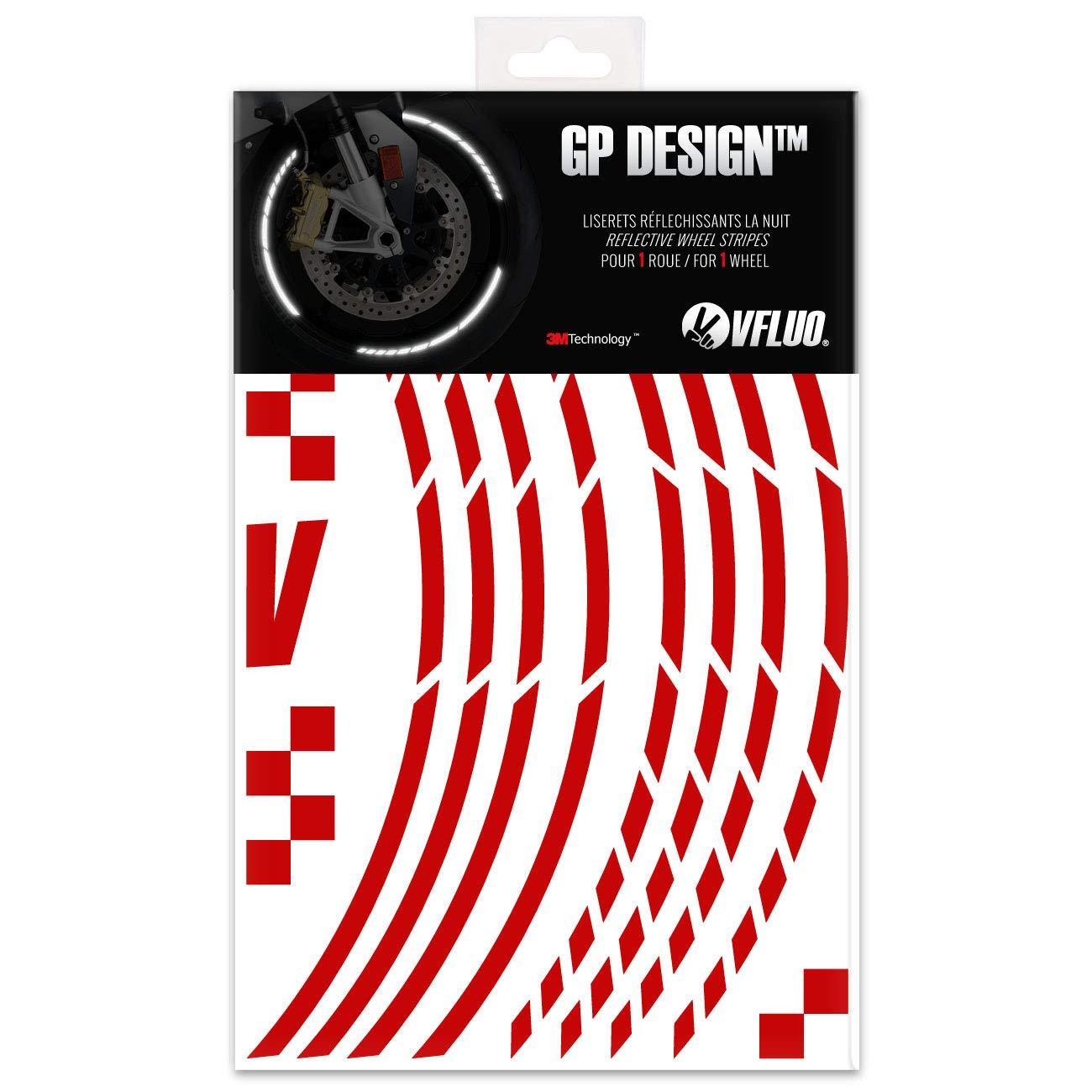 1 Rueda Kit de Cintas Rosa VFLUO GP Design/™ Anchura XL : 7 mm Rayas Retro Reflectantes para Llantas de Moto 3M Technology/™