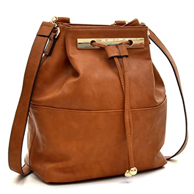 Amazon.com  Dasein Fashion Leather Convertible Drawstring Bucket Bag and  Backpack - Brown  Shoes 94c7b7d438