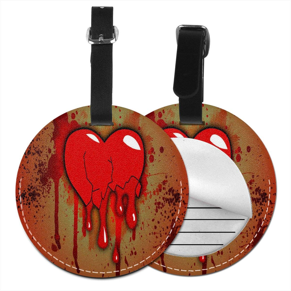 Bloody Heart Luggage Tag Suitcase Backpacks ID Tag with Adjustable Strap 4 Pack by Rachel Dora