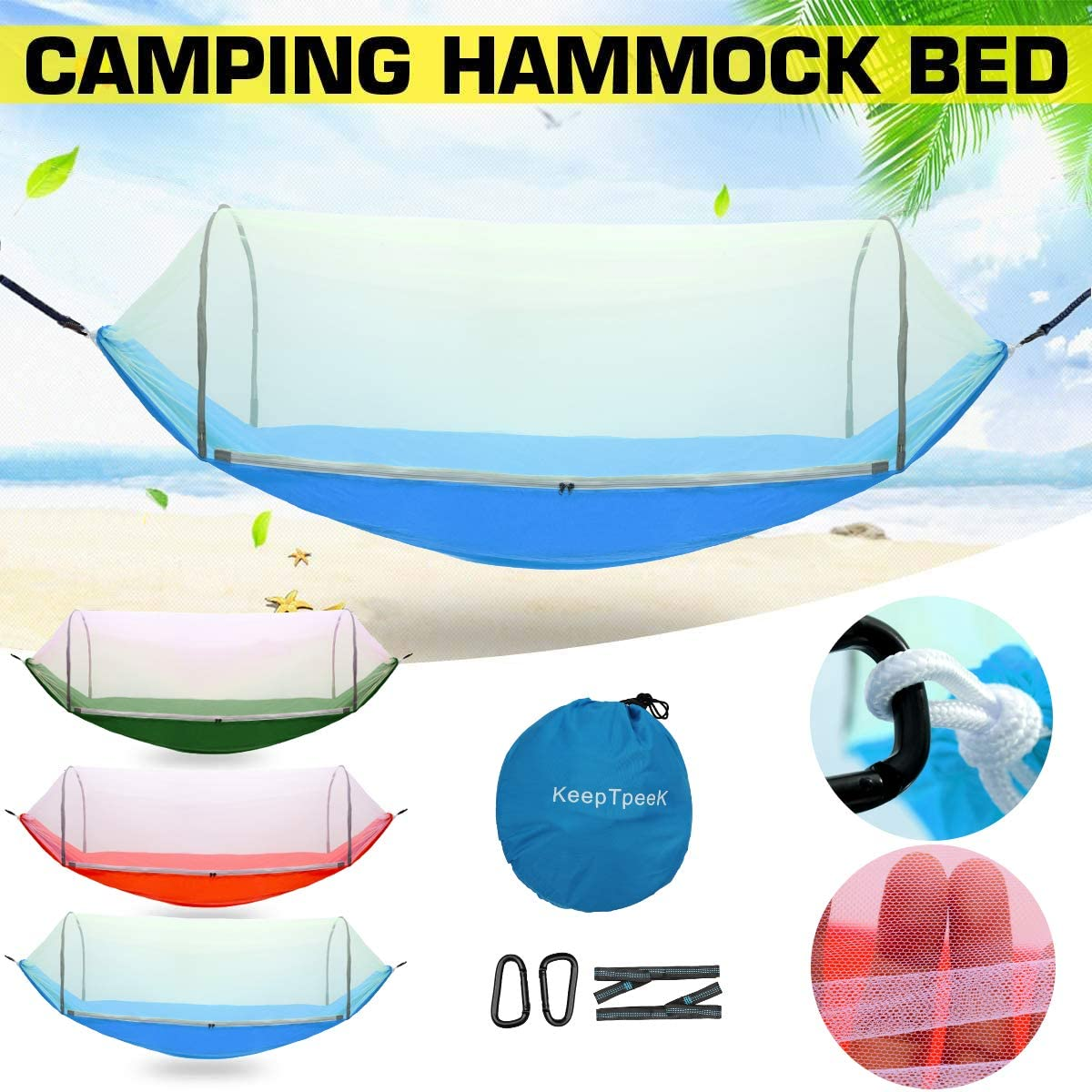 KeepTpeeK Camping Hammock with Mosquito Net Tree Straps and Carabiners Lightweight Portable Soft Swing Sleeping Hammock Bed for Backpacking Hiking Garden Travel Yard Outdoor Activities