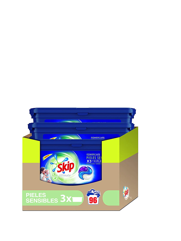 TALLA 96 cápsulas. Skip Ultimate Triple Poder Pieles Sensibles Detergente Cápsulas para Lavadora - Paquete de 3 x 32 lavados - Total: 96 lavados