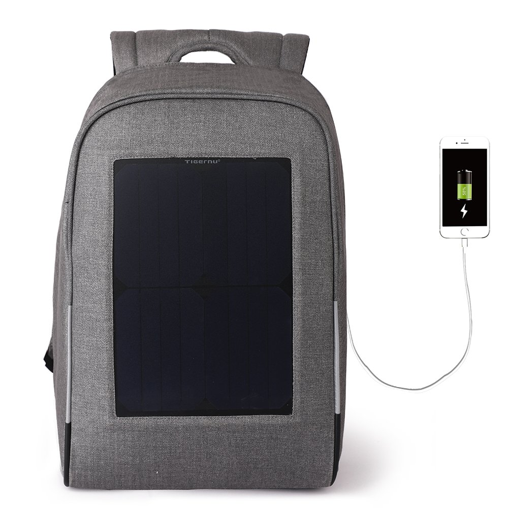 Tigernu Men's Computer Bags 15.6''Computer Laptop Messenger Backpack with Solar Panel Charger 10W Rain Cover For Biking Charging Mobile Phones, Tablets, Smartphones Black Grey (Light Grey) by TIGERNU