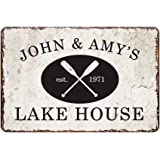 Personalized Vintage Distressed Look Lake House Metal Room Sign