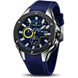 MEGIR Men's Analogue Army Military Chronograph Luminous Quartz Watch with Stylish Silicone Strap for Sport & Business Work