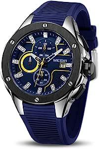 Hombre Relojes Moda Impermeable Silicona Cronógrafo Relojes Negocios Analogicos Cuarzo Relojes Clásico Azul Correa Fecha Calendario Relojes