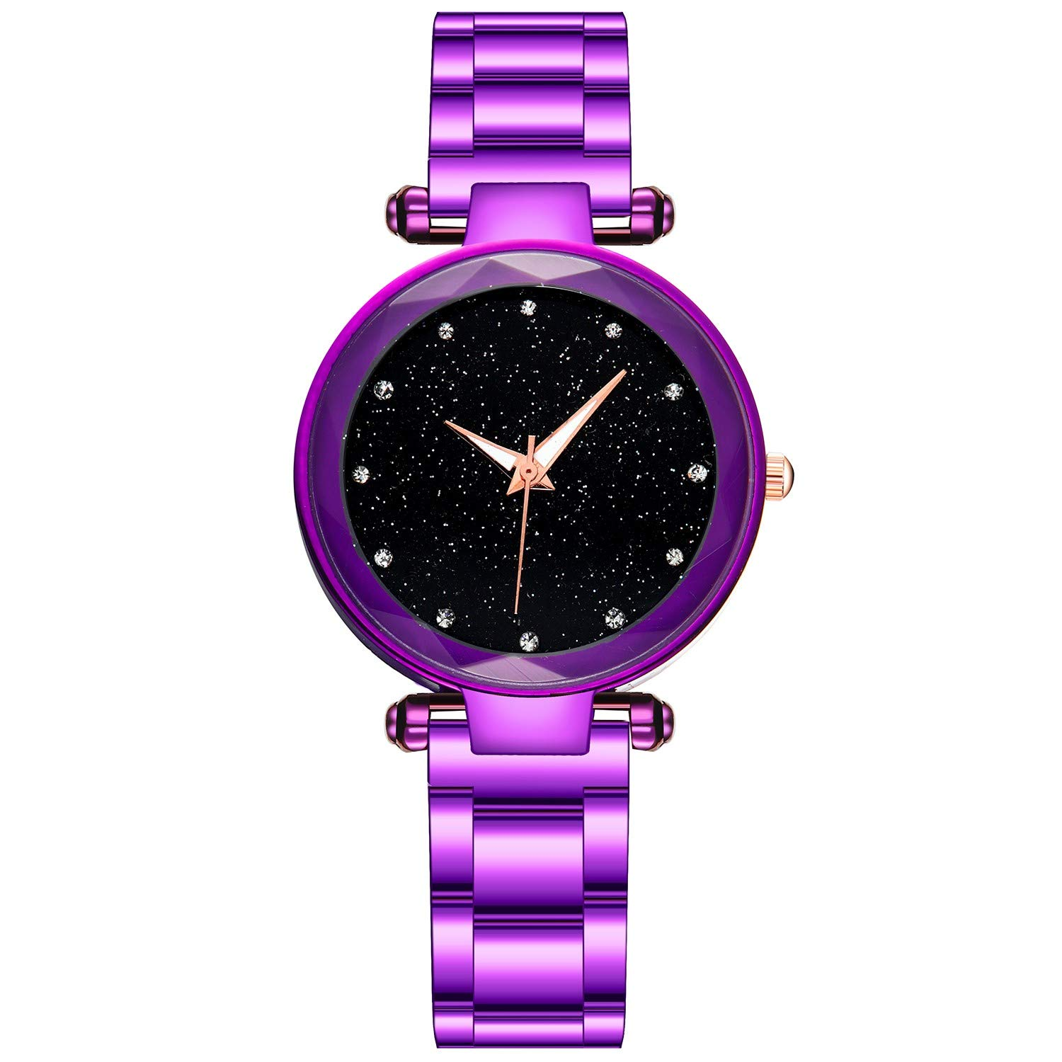 Toponly Women Watch Black Ultra Thin Wrist Watches for Women Fashion Waterproof Dress Stainless Steel Band