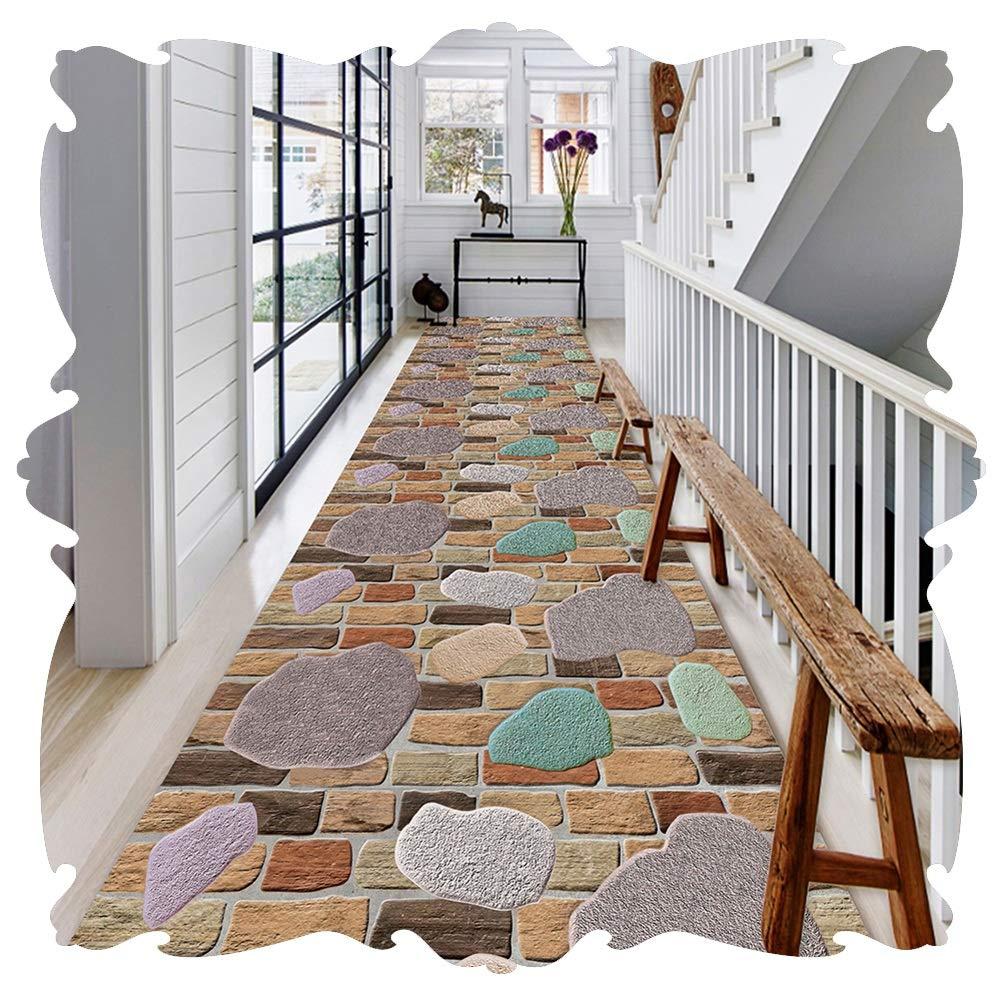 YANGJUN 廊下敷きカーペット ラグ ランナー 洗える イージーケア 柔らかい 滑り止め 印刷 床 石 れんが カッタブル カスタマイズ可能 (色 : A, サイズ さいず : 0.9x6.5m) B07SBVLCM6 A 0.9x6.5m