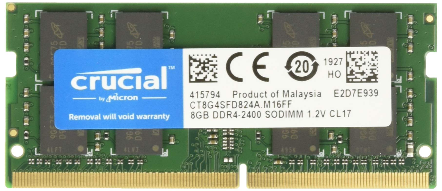 Memoria Ram 8GB DDR4 2400MHZ PC4-19200 SODIMM CRUCIAL