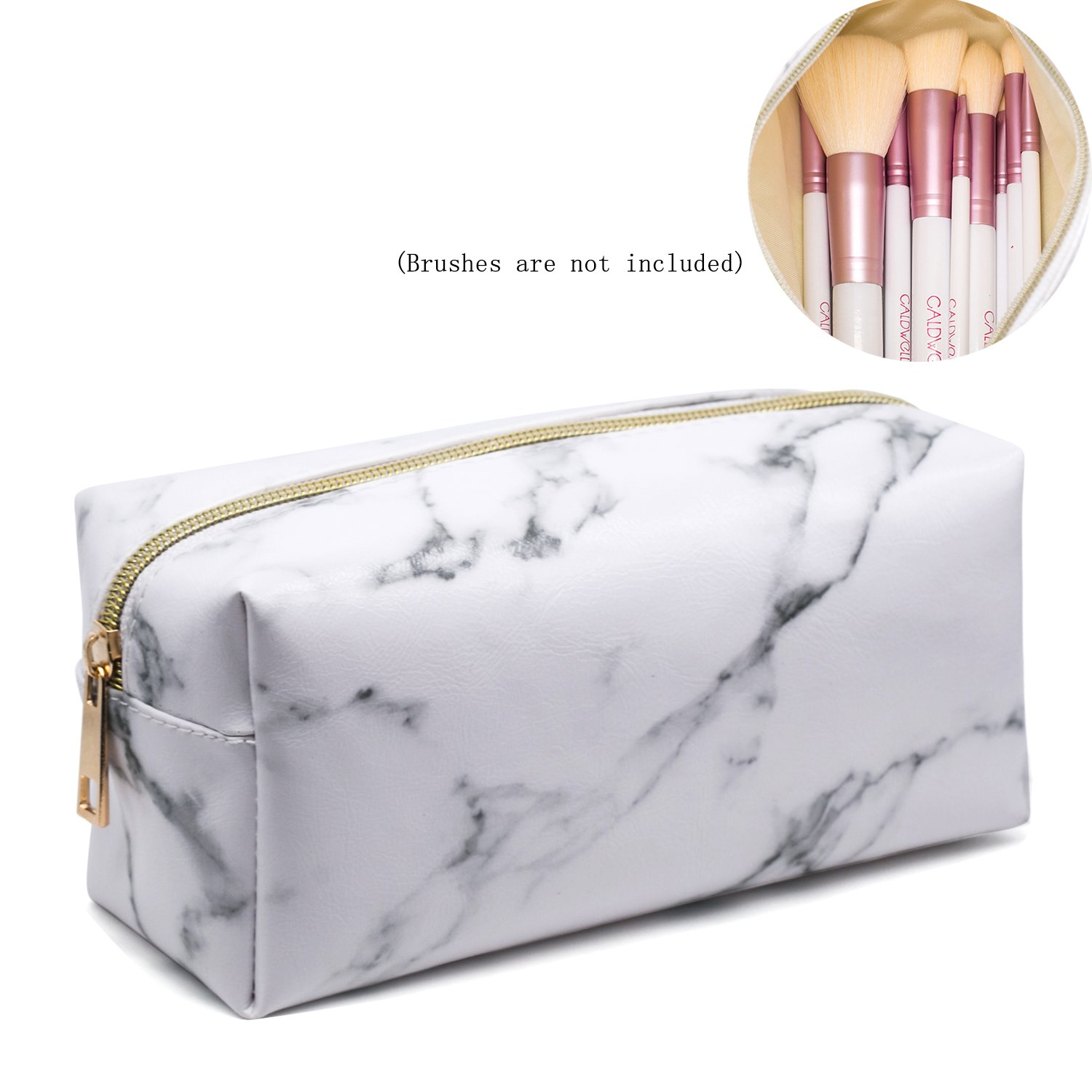 Marble Makeup Bag Organizer Portable Cosmetic Pouch Travel Brush Holder PU Handbag with Gold Zipper Pencil Storage Case for Women Purse,White (7.5''x3.5''x2.8'')
