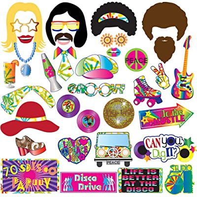 70's Photo Booth Props Party Supplies Kit For 70's Party Decorations Disco Fever,Hippie Party, I Love 70's, Groovy Photobooth Props, 1970's Party Supplies: Kitchen & Dining