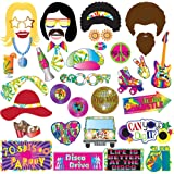 TMCCE 70's Photo Booth Props Party Supplies Kit For 70's Party Decorations Disco Fever,Hippie Party, I Love 70's, Groovy Photobooth Props, 1970's Party Supplies