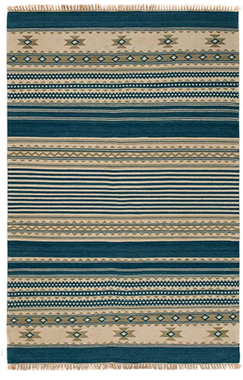 Second Nature Kovalam Geometrische Streifen Wolle Kelim Teppich blau grau weiß (Fair Trade) 120 cm x 180 cm