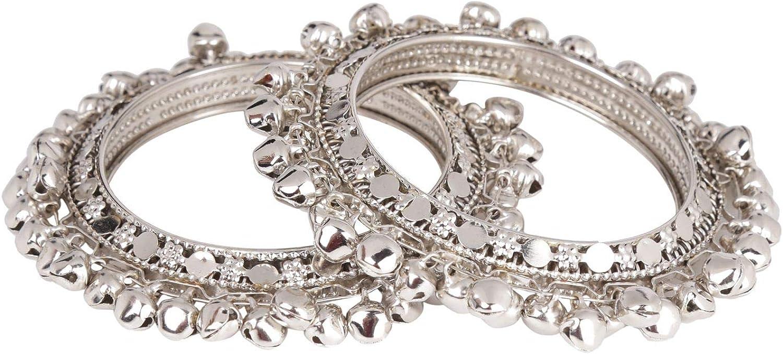 Efulgenz Boho Vintage Antique Gypsy Tribal Indian Oxidized Silver Plated Bell Charm Bracelet Bangle Set Jewelry